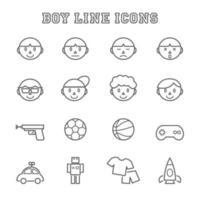 boy line icons vector