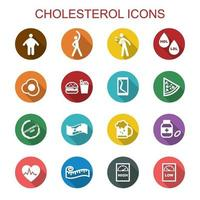 iconos de la larga sombra de colesterol vector