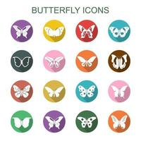 butterfly long shadow icons vector