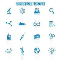 iconos de ciencia con reflejo vector