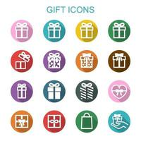 iconos de larga sombra de regalo vector