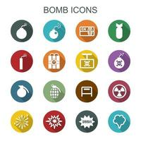 bomb long shadow icons vector