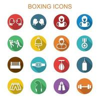 boxing long shadow icons vector