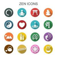 iconos de la larga sombra zen vector