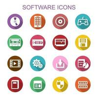 software long shadow icons vector