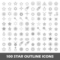 100 star outline icons vector