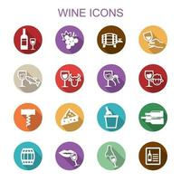 wine long shadow icons vector