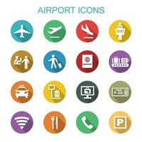 airport long shadow icons vector