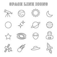 iconos de línea espacial vector