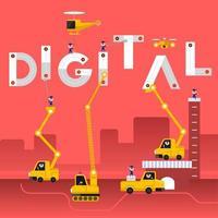 Construction teams building the word DIGITAL vector