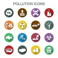 pollution long shadow icons vector