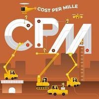 Construction team building the phrase CPM vector