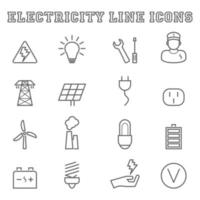 electricity line icons vector