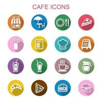 iconos de cafe larga sombra vector