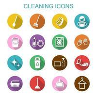 limpieza de iconos de sombra larga vector
