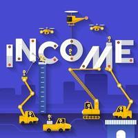 equipo de construcción construyendo la palabra ingresos vector