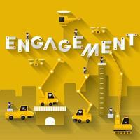 Construction team building the word ENGAGEMENT vector