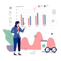 business analyst working with data graphs and charts vector