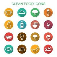 clean food long shadow icons vector