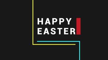texto de animação feliz páscoa em fundo preto de moda e minimalismo com linhas amarelas e azuis video