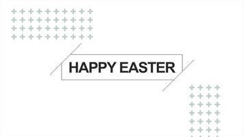 texto de animação feliz páscoa em fundo de moda e minimalismo branco com pontos e linhas video