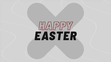 animação texto feliz páscoa no fundo da moda negra e minimalismo com cruz e ondas