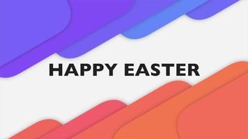 animação texto feliz páscoa e movimento quadrados geométricos coloridos, fundo de memphis
