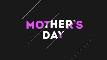 animação texto dia das mães sobre fundo preto moda e minimalismo com linhas brancas video