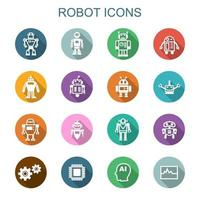 iconos de robot larga sombra vector