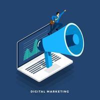 Concepto de marketing digital con megáfono y portátil.