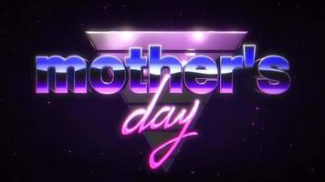 animação texto dia das mães e triângulo de néon abstrato retrô em fundo retrô no estilo 90 video