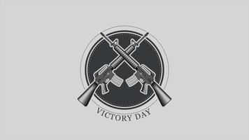 animação texto dia da vitória em antecedentes militares com armas