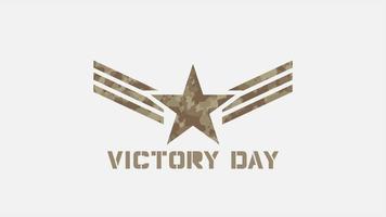 animação de texto dia da vitória em antecedentes militares com selos e estrelas
