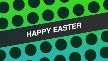 animação texto feliz páscoa e pontos geométricos em movimento, fundo de memphis