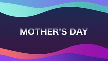 animação texto dia das mães e movimento ondas geométricas líquidas, fundo de memphis
