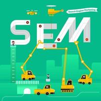 Construction team building the phrase search engine marketing vector