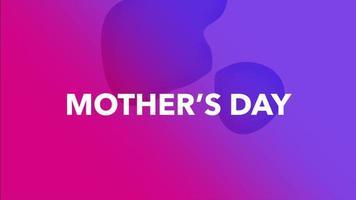 animação texto dia das mães e formas geométricas líquidas de movimento, fundo de memphis