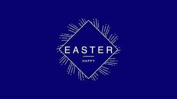 texto de animação feliz páscoa em fundo azul de moda e minimalismo com linhas vintage video