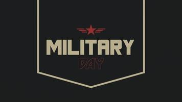 Animation text Military Day on military background with stamps and star video