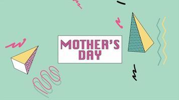 animação texto dia das mães e movimento triângulos geométricos coloridos e zigue-zague, fundo de memphis