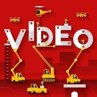 equipo de construcción construyendo el video de la palabra vector