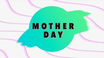 animação texto dia das mães sobre fundo branco moda e minimalismo com ondas video
