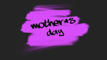 animação texto dia das mães sobre moda roxa e fundo de pincel