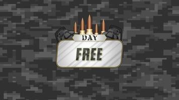 animação de texto de dia livre em fundo cinza militar com clientes