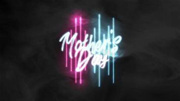 animação texto dia das mães sobre fundo de moda e clube com linhas brilhantes de néon