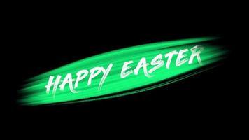 texto de animação feliz páscoa em moda verde e fundo de pincel