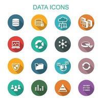 iconos de larga sombra de datos vector