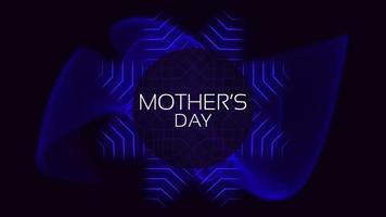 animação texto dia das mães sobre moda e plano de fundo do clube com círculos e ondas azuis brilhantes