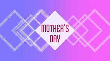 animação texto dia das mães sobre moda e plano de fundo do clube com quadrados brilhantes