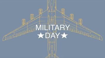 Animation text Military Day on military background with airplane video
